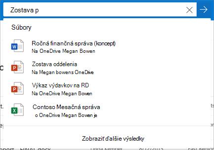 Vyhľadávanie vo OneDrive for Business