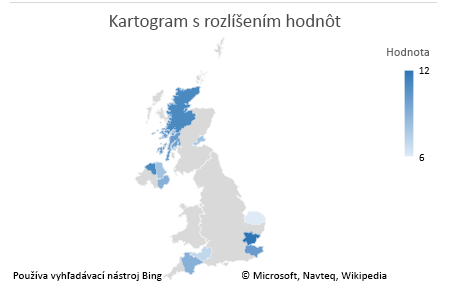 Graf s jednoznačnými údajmi v kartograme v Exceli