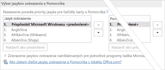 Office 2016 – nastavenie poradia jazykov