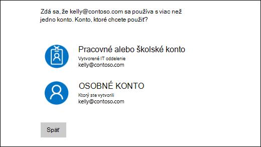 Prihlasovacia obrazovka s dvoma e-mailové adresy