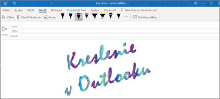 E-mailová správa s funkciou kreslenia v Outlooku napísaná trblietavým atramentom
