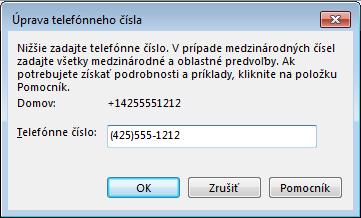 Príklad telefónneho čísla Lyncu znázorňujúci formát medzinárodného vytáčania