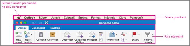 Panel s ponukami Outlook 2016 pre Mac