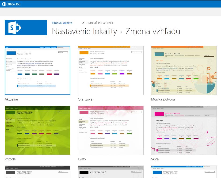 Výber motívov vzhľadu, ktoré sú kdispozícii na publikačných lokalitách SharePointu Online