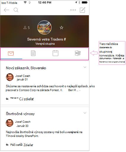 Zobrazenie konverzácie skupiny v mobilnej aplikácii Outlook skupiny