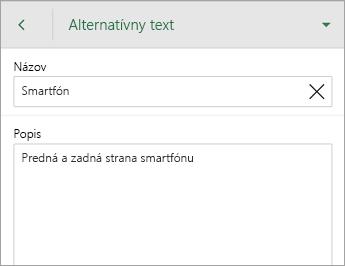 Príkaz Alternatívny text na karte Obrázok