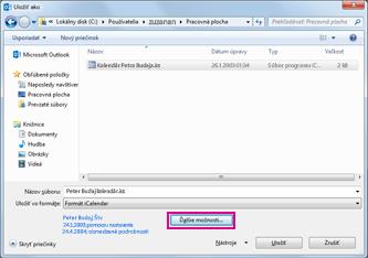 Dialógové okno Uložiť ako v kalendári Outlooku