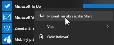 Kontextová ponuka pre Microsoft, aby sa otvorila a pripnúť na domovskú obrazovku