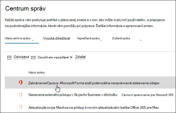 Správa v centre spravovania Microsoft 365 o službe Microsoft Forms phishing Detection