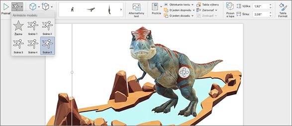 3D model so zobrazenými možnosťami animácie