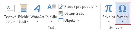 Na karte Vložiť kliknite na položku Symbol.