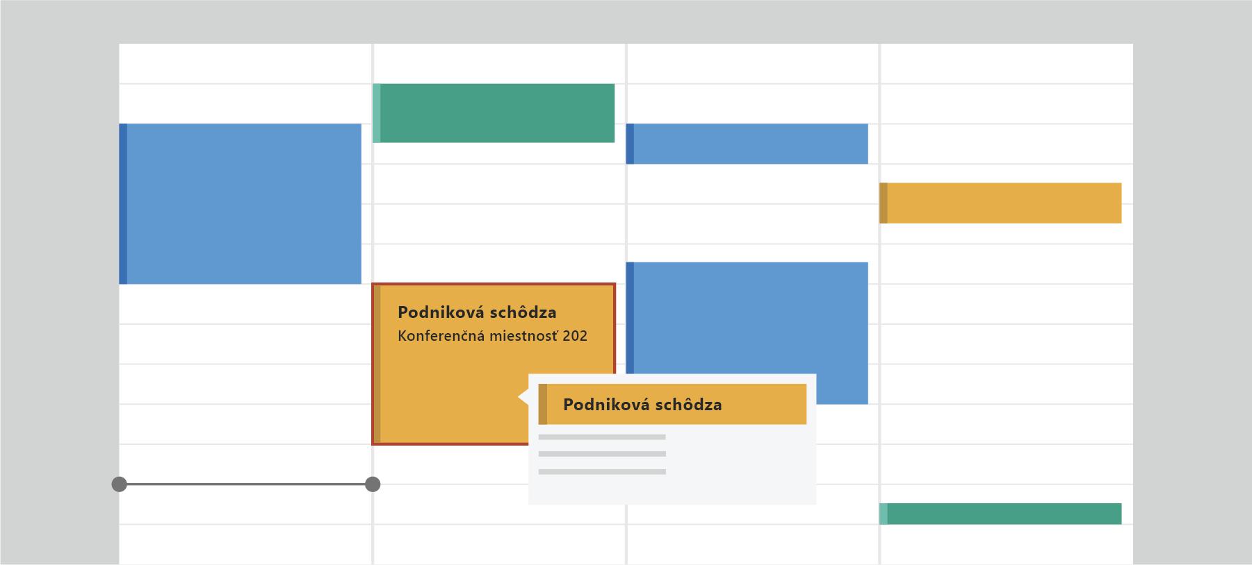 Zobrazuje Outlook Kalendár
