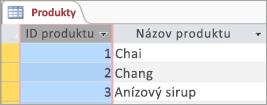 Obrazovka úryvok z tabuľky Products