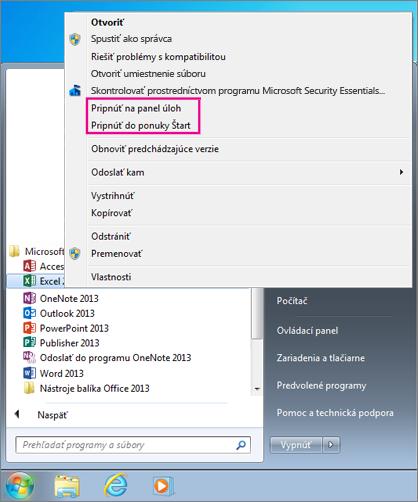 Pripnutie aplikácie balíka Office do ponuky Štart alebo na panel úloh vo Windowse7