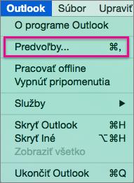 V ponuke Outlook kliknite na položku Predvoľby.