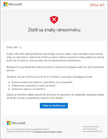 Snímka obrazovky s e-mailom na zisťovanie ransomware od spoločnosti Microsoft