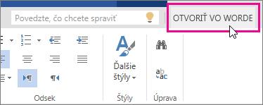 Položka Otvoriť vo Worde zo zobrazenia na úpravy vo Worde Online