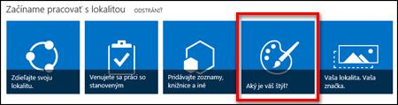 Novo vytvorená lokalita v SharePointe Online so zobrazením dlaždíc s možnosťou kliknutia, ktoré umožňujú ďalšie prispôsobenie lokality