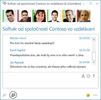Snímka obrazovky s trvalou konverzáciou šiestich účastníkov
