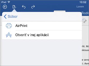 V dialógovom okne tlače vo Worde pre iOS môžete tlačiť dokument alebo ho otvoriť v inej aplikácii.