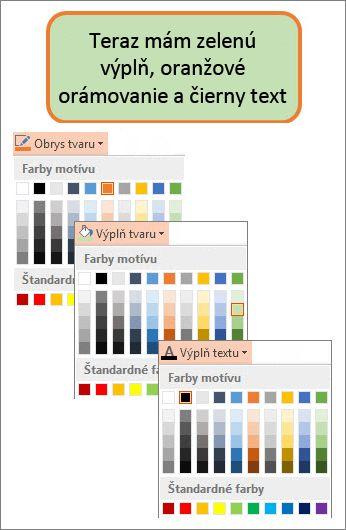 Tvar s novými farbami výplne, textu a orámovania