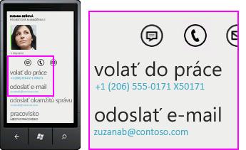 Snímka obrazovky s činnosťami Lyncu pre mobilných klientov, napríklad volanie do práce