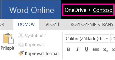 Snímka obrazovky s navigačnými prepojeniami s popisom cesty vo Worde Online
