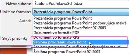 Uložiť ako šablónu programu PowerPoint