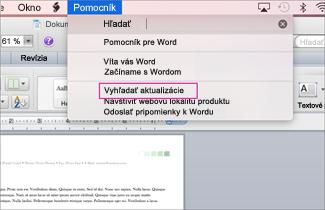 Snímka obrazovky ponuky balíka Office pre Mac