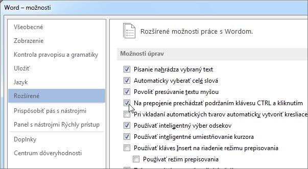 Dialógové okno Možnosti programu Word