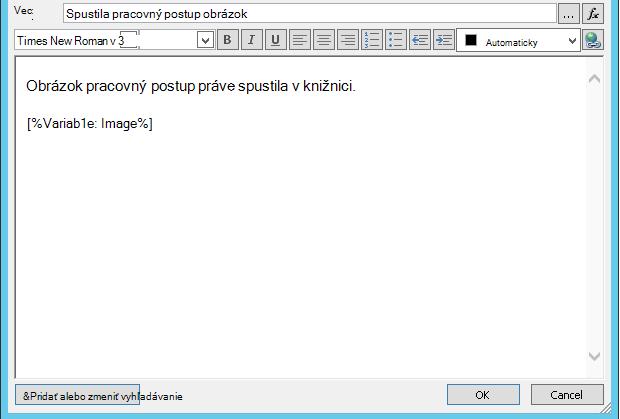 Telo e-mailu sprava pracovného postupu s obrázkom