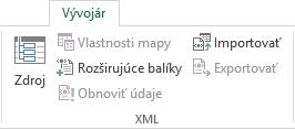 Príkazy vskupine XML na karte Vývojár