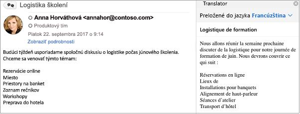 Táto správa bola preložená zangličtiny do francúzštiny pomocou doplnku Outlook Translator