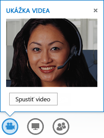 Snímka obrazovky so spustením videa prostredníctvom okamžitej správy