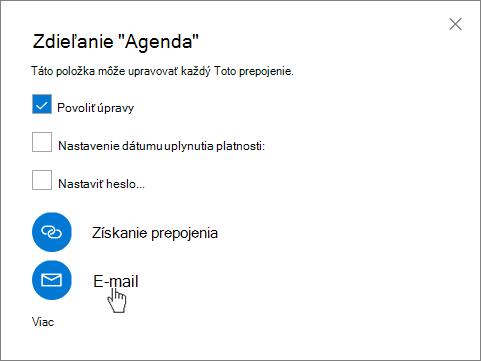 Snímka obrazovky svybratou možnosťou E-mail vdialógovom okne Zdieľať vo OneDrive