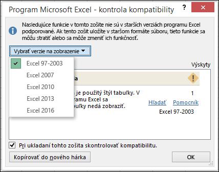 Dialógové okno Kontrola kompatibility v programe Excel