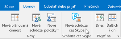 Plánovanie schôdze cez Skype for Business