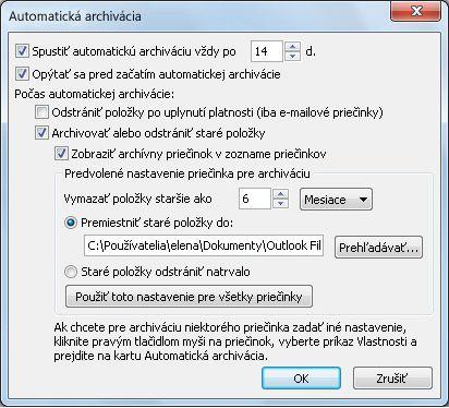 Dialógové okno nastavení automatickej archivácie