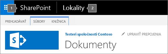 Ľavý horný roh obrazovky v SharePointe 2016, ktorý zobrazuje spúšťač aplikácií a názov
