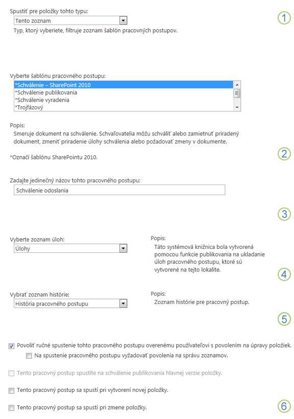 Základné informácie o pridávaní pracovného postupu s vyvolanými sekciami