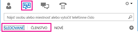 Snímka obrazovky hlavného okna Lyncu so zobrazením hovorní a zvýraznenými kartami Členstvo a Sledované
