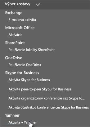 Snímka obrazovky s ponukou Vyberte zostavu na tabuli Zostavy v službách Office 365
