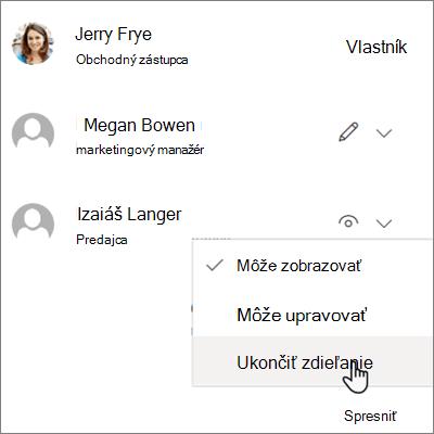 Snímka obrazovky s postupom ukončenia zdieľania s jednou osobou v službe OneDrive for Business