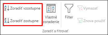 Tlačidlá vzostupného alebo zostupného zoradenia v Exceli na karte Údaje