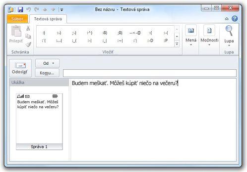 Okno s textom správy SMS