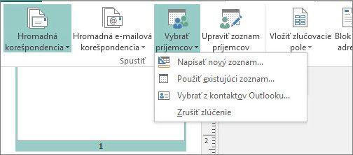 Možnosti tlačidla Vybrať príjemcov na karte Korešpondencia