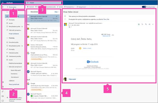 Snímka obrazovky rozhrania Pošta