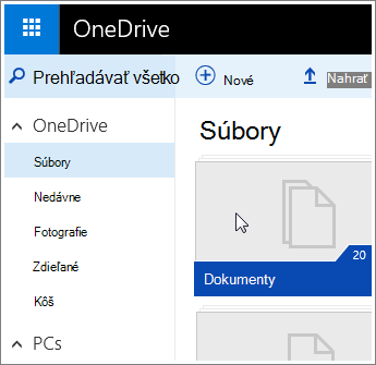 Snímka obrazovky priečinka Dokumenty vo Onedrive.