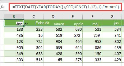 Vytvorenie dynamického zoznamu 12 mesiacov pomocou kombinácie textu, dátumu, roka, DNEŠKa a SEKVENČNých funkcií