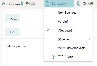 Tlačidlo citlivosť s možnosťami citlivosti v Outlooku pre web